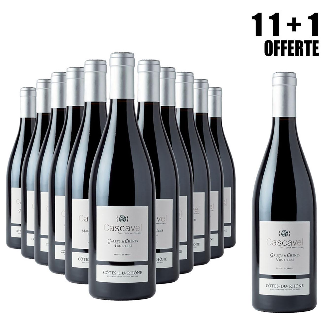Lot de 11 Côtes-du-Rhône Galets & Chênes Truffiers 2017 Cascavel 75cl + 1 Offerte