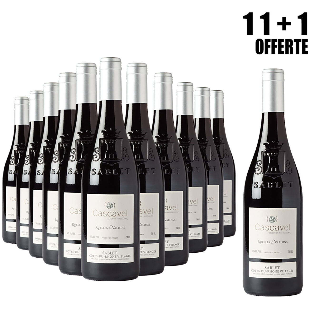 Lot de 11 Sablet Ruelles & Vallons 2015 Cascavel 75cl + 1 Offerte