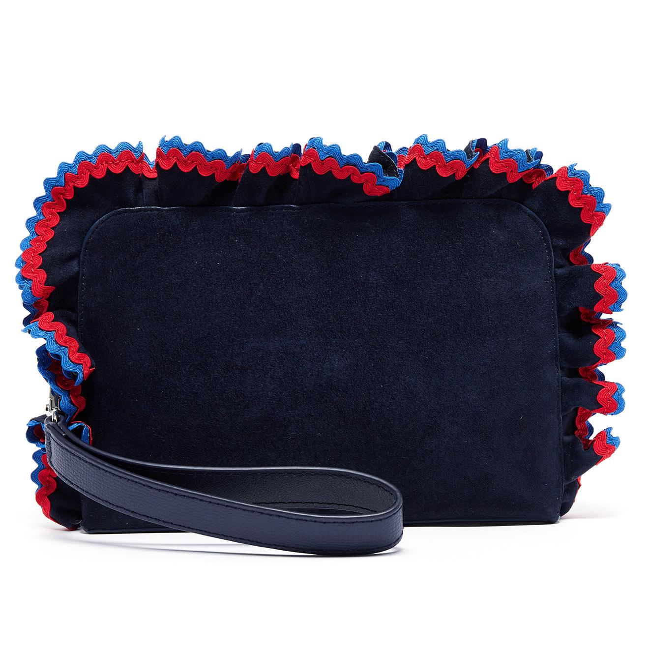 Pochette en Velours de cuir bleue - 27.5x17x3.5 cm