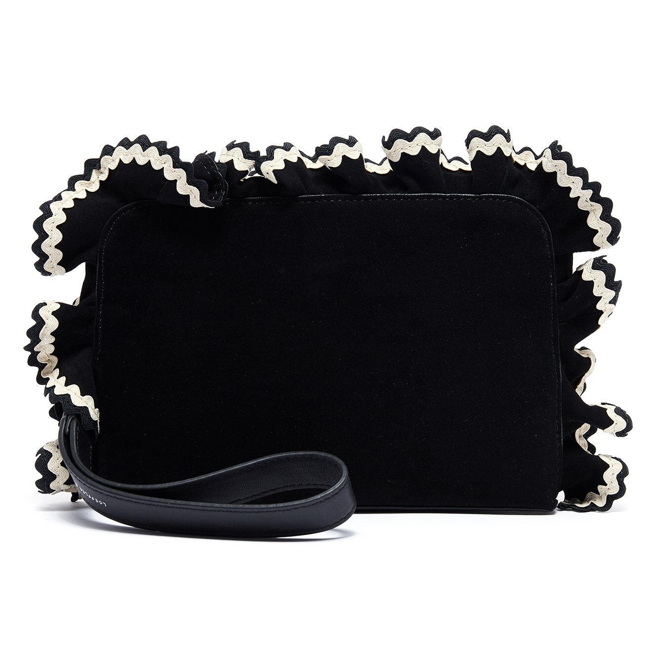 Pochette en Velours de cuir noire - 27.5x17x3.5 cm