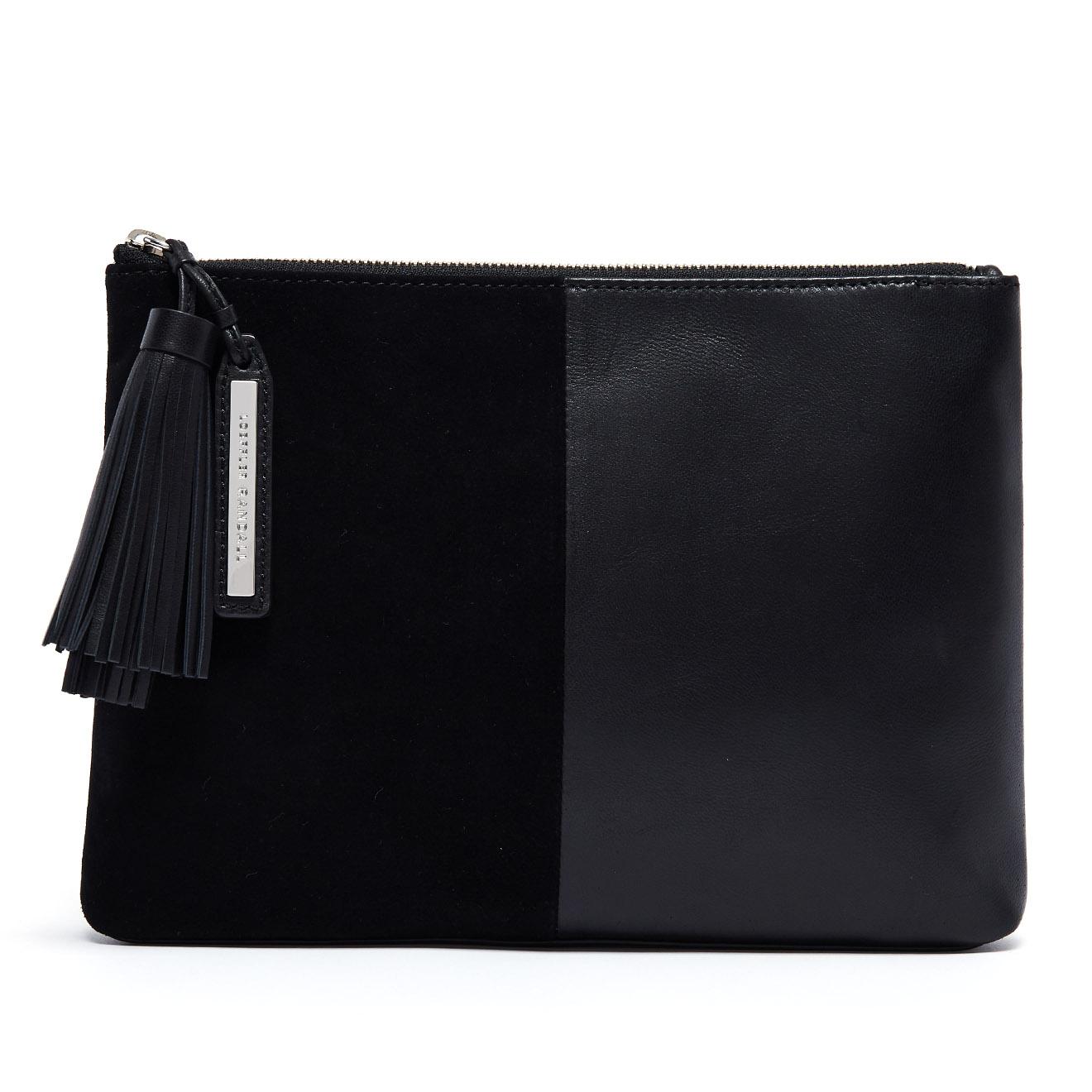 Pochette Tassel Pouch en Cuir bi-matière noire - 29x21,5x3 cm