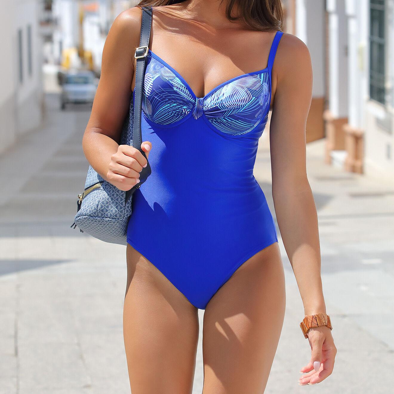 Maillot de bain 1 Pièce Emma imprimé bleu