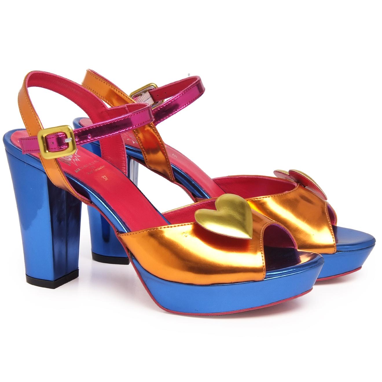 Sandales Elisa bleu/orange/doré/fuchsia - Talon 10.5 cm - Agatha ruiz de la prada - Modalova