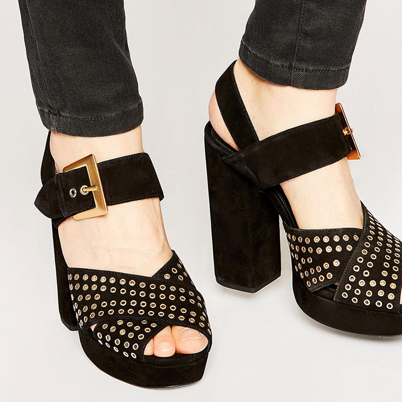 Sandales plateforme en Velours de Cuir & oeillets noires - The Kooples - Modalova