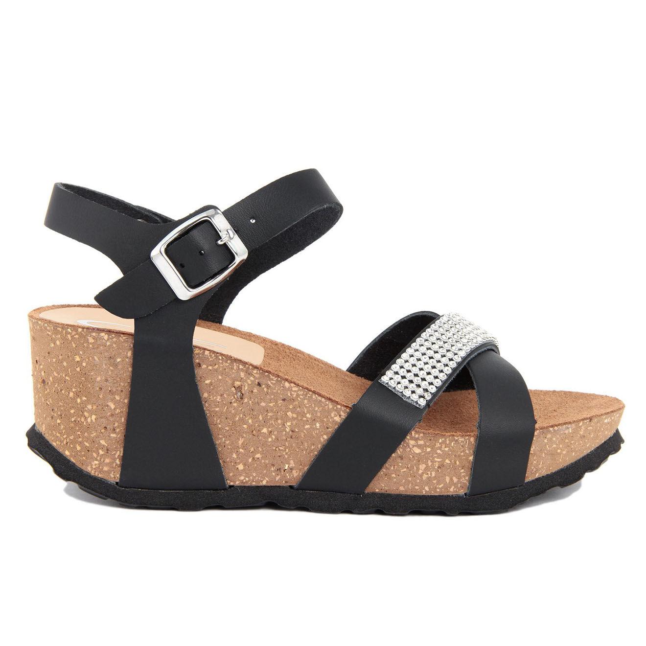 Sandales compensées en Cuir Rosa noires - Talon 7 cm
