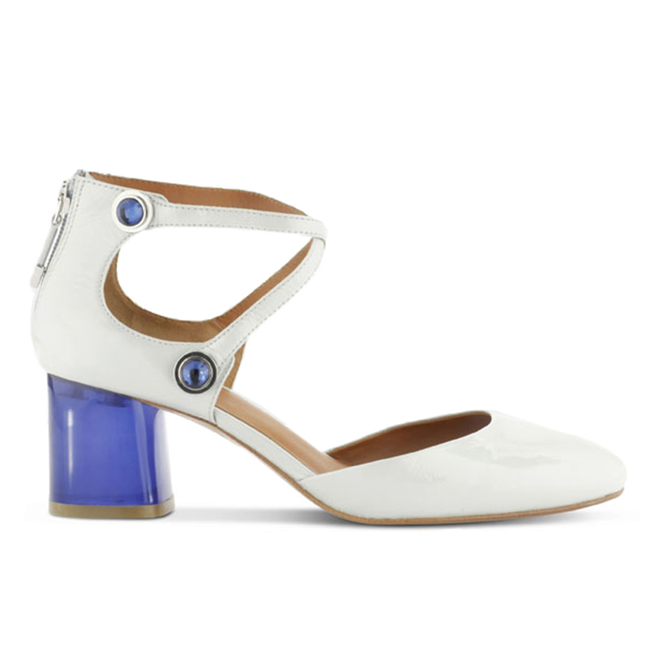 Sandales en Cuir Kim bleu/blanc - Talon 6 cm - What For - Modalova