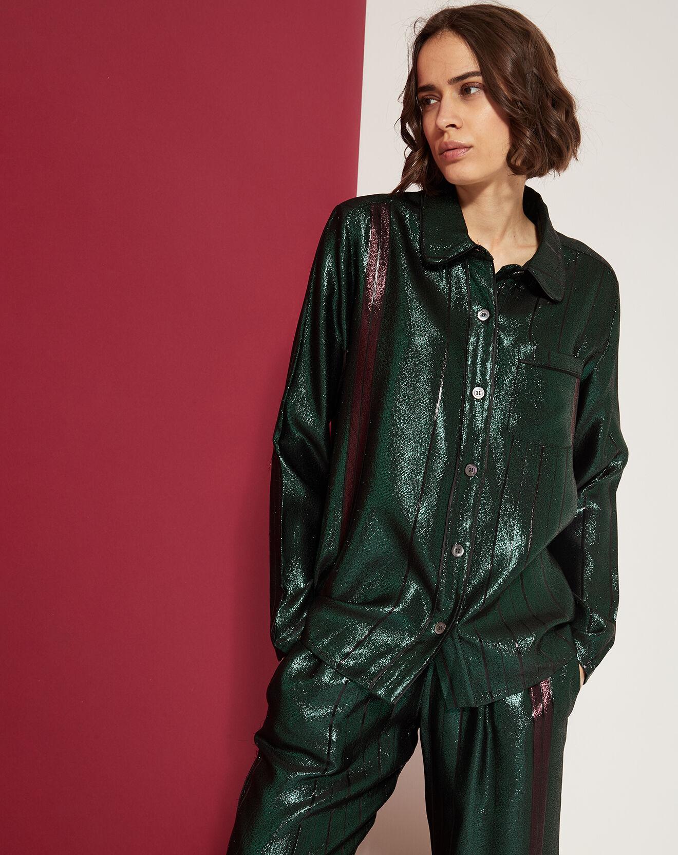 Chemise Irisée à fines rayures vert forêt