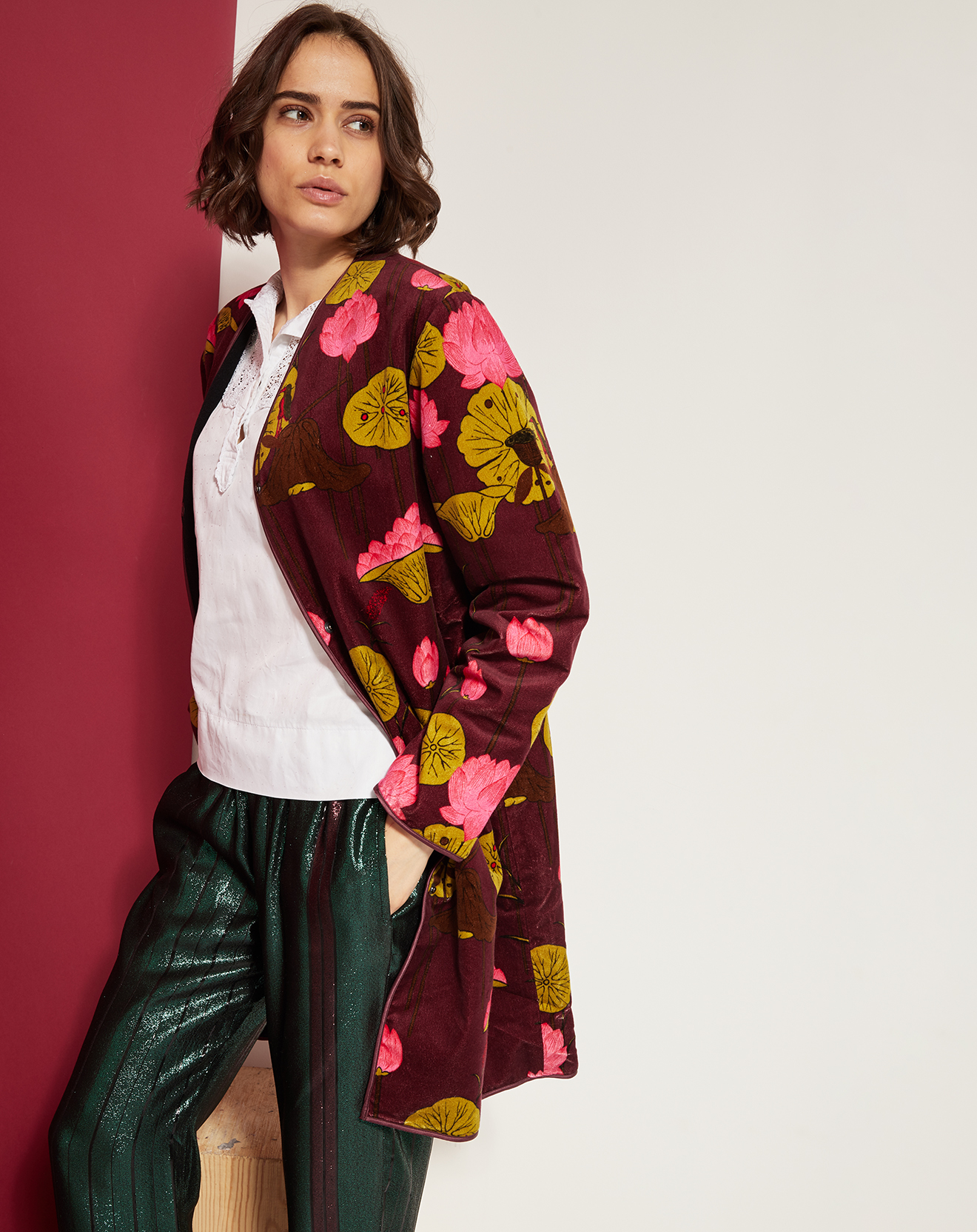 Manteau imprimé prune