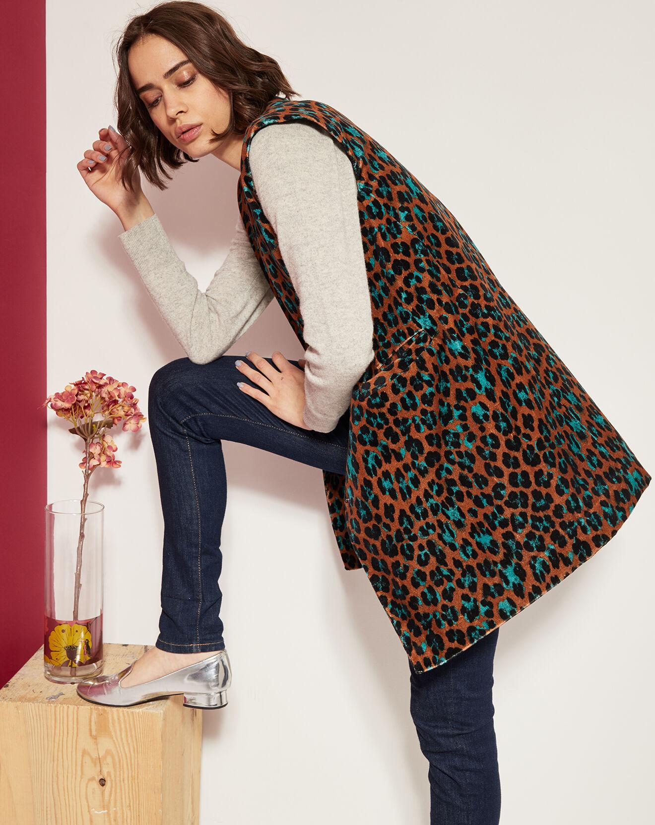Veste imprimée léopard en Toile de coton marron/turquoise