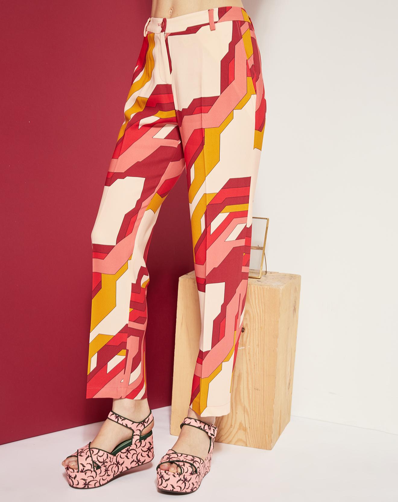 Pantalon à pinces imprimé rose/fuchsia