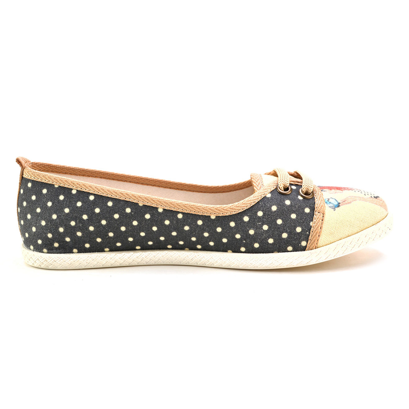 Derbies Dot noir/beige