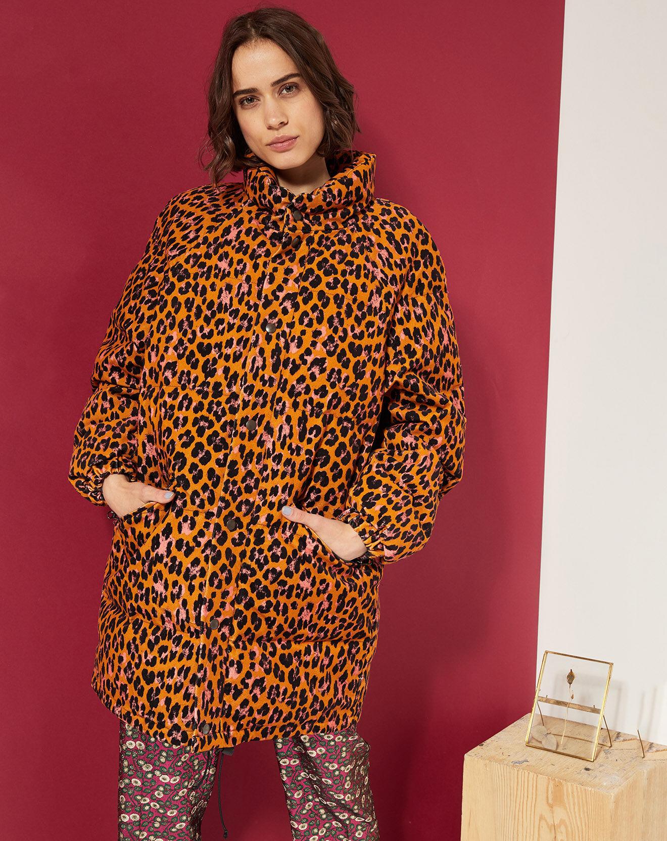 Veste matelassée en Coton imprimé léopard orange/noir