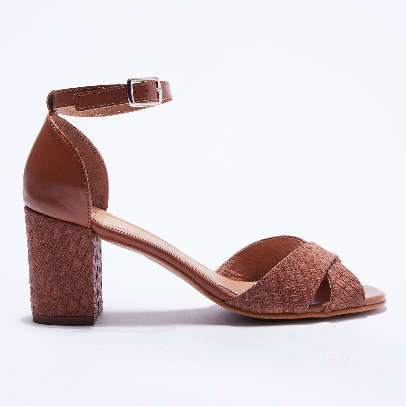 Sandales en Cuir tressé cognac - Talon 7 cm - Apologie - Modalova