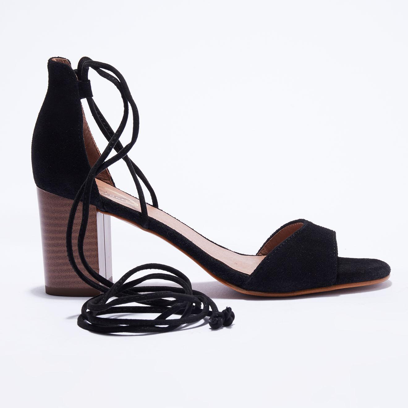 Sandales en Velours de Cuir noires - Talon 7 cm - Apologie - Modalova