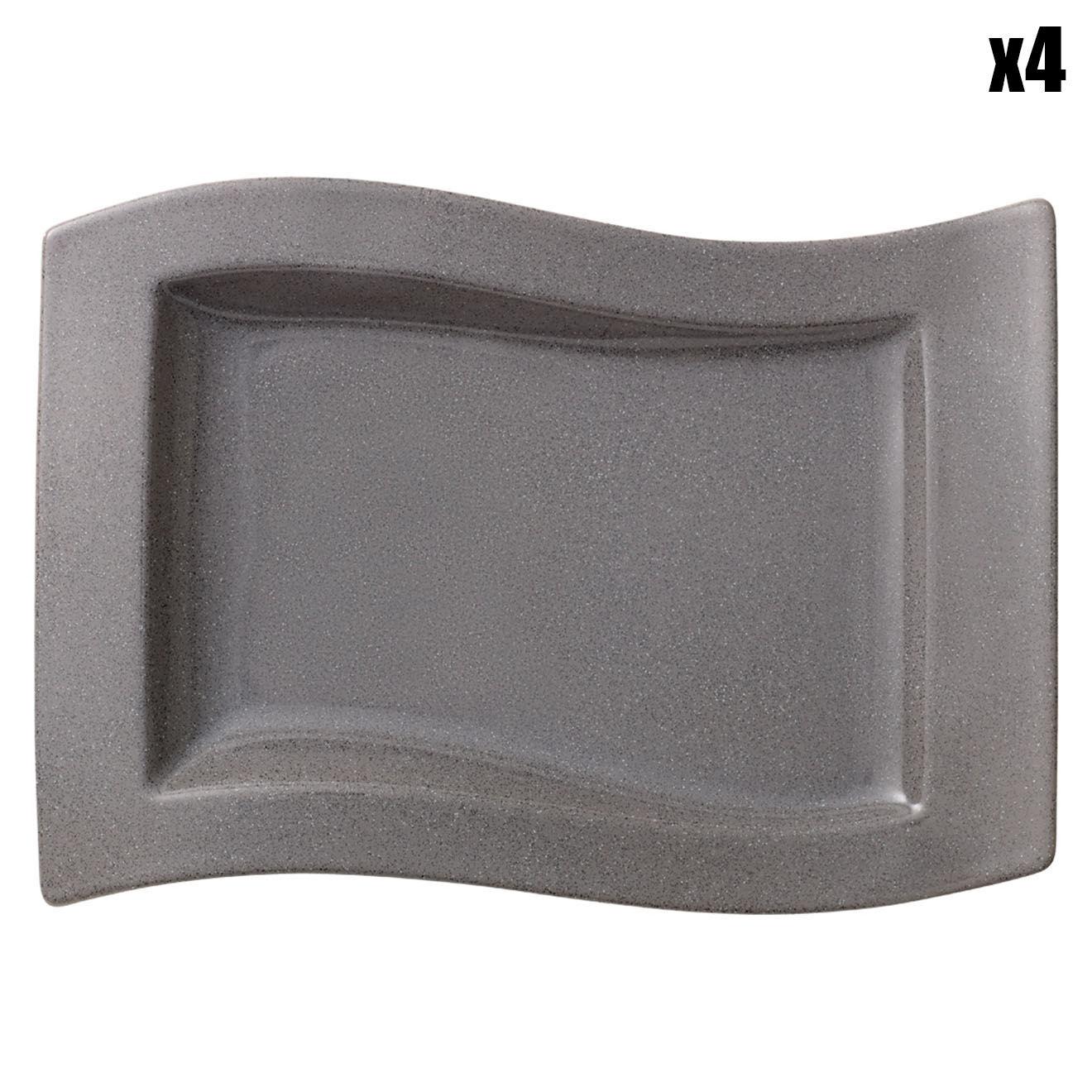 4 Assiettes gourmet NewWave Stone grises - 33x24 cm