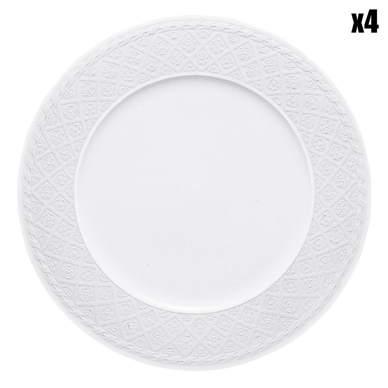 4 Assiettes d'accueil Cellini blanches - D.31 cm