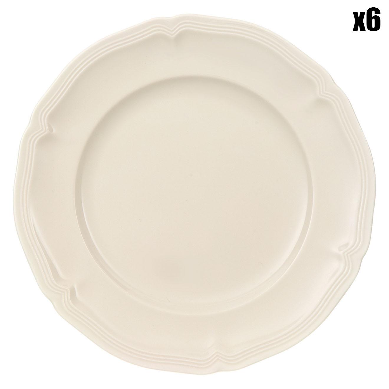 6 Assiettes à pain Manoir blanches - D.17 cm