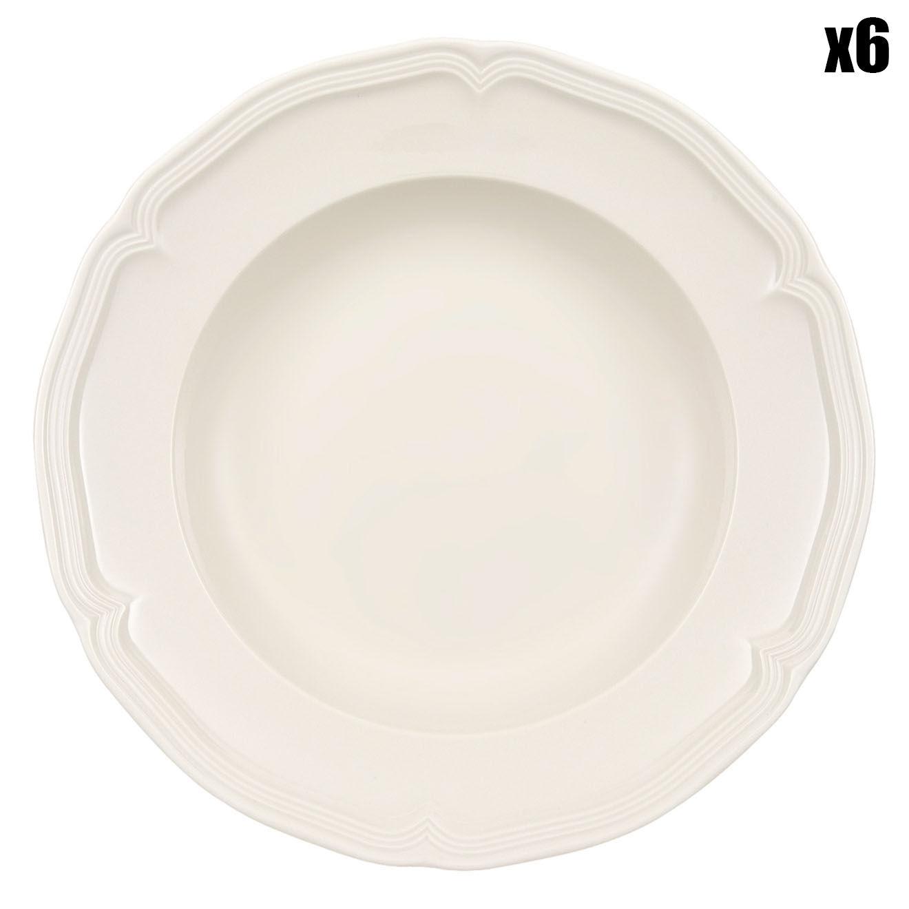 6 Assiettes creuses Manoir blanches - D.23 cm