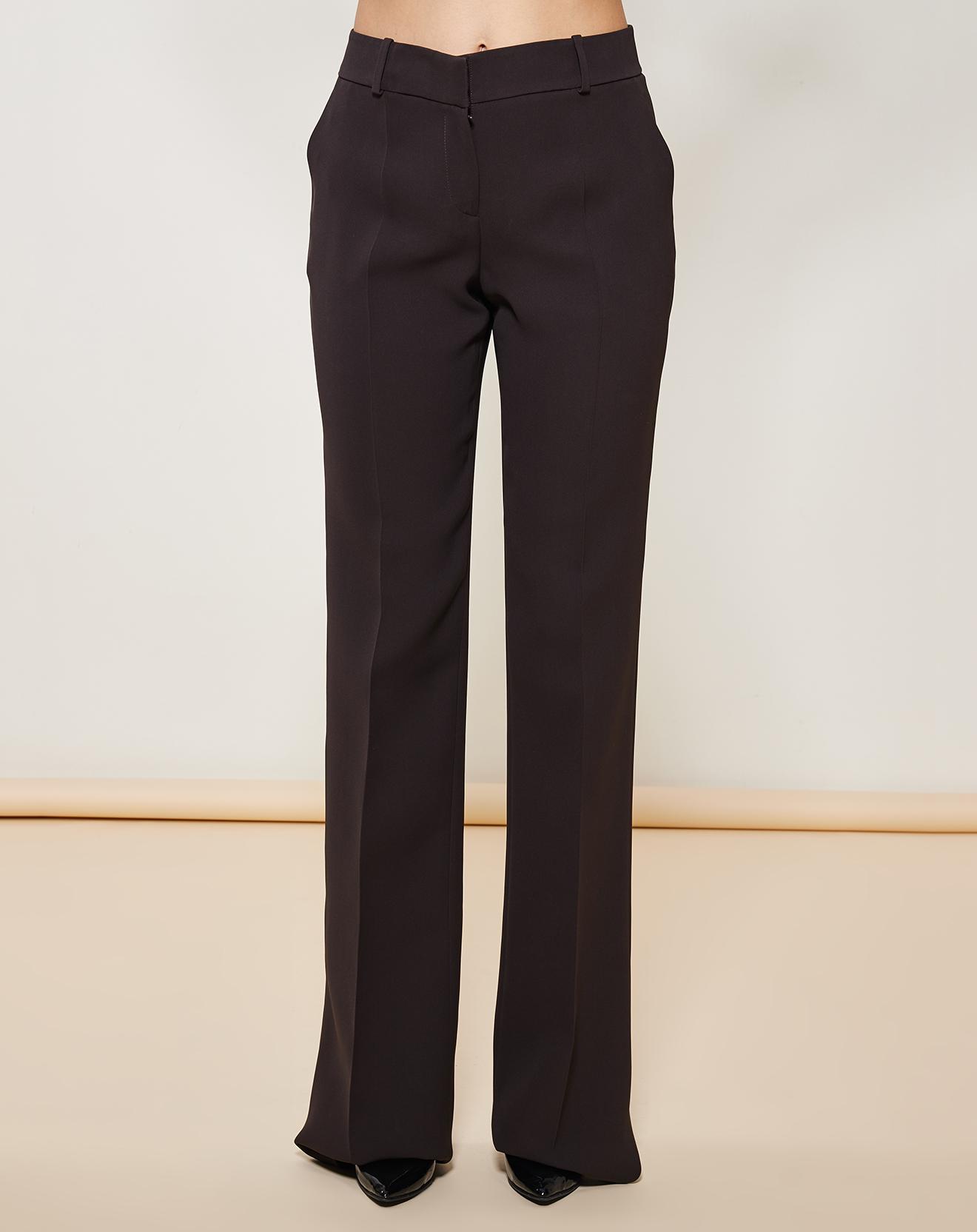 Pantalon flare 100% Soie uni marron