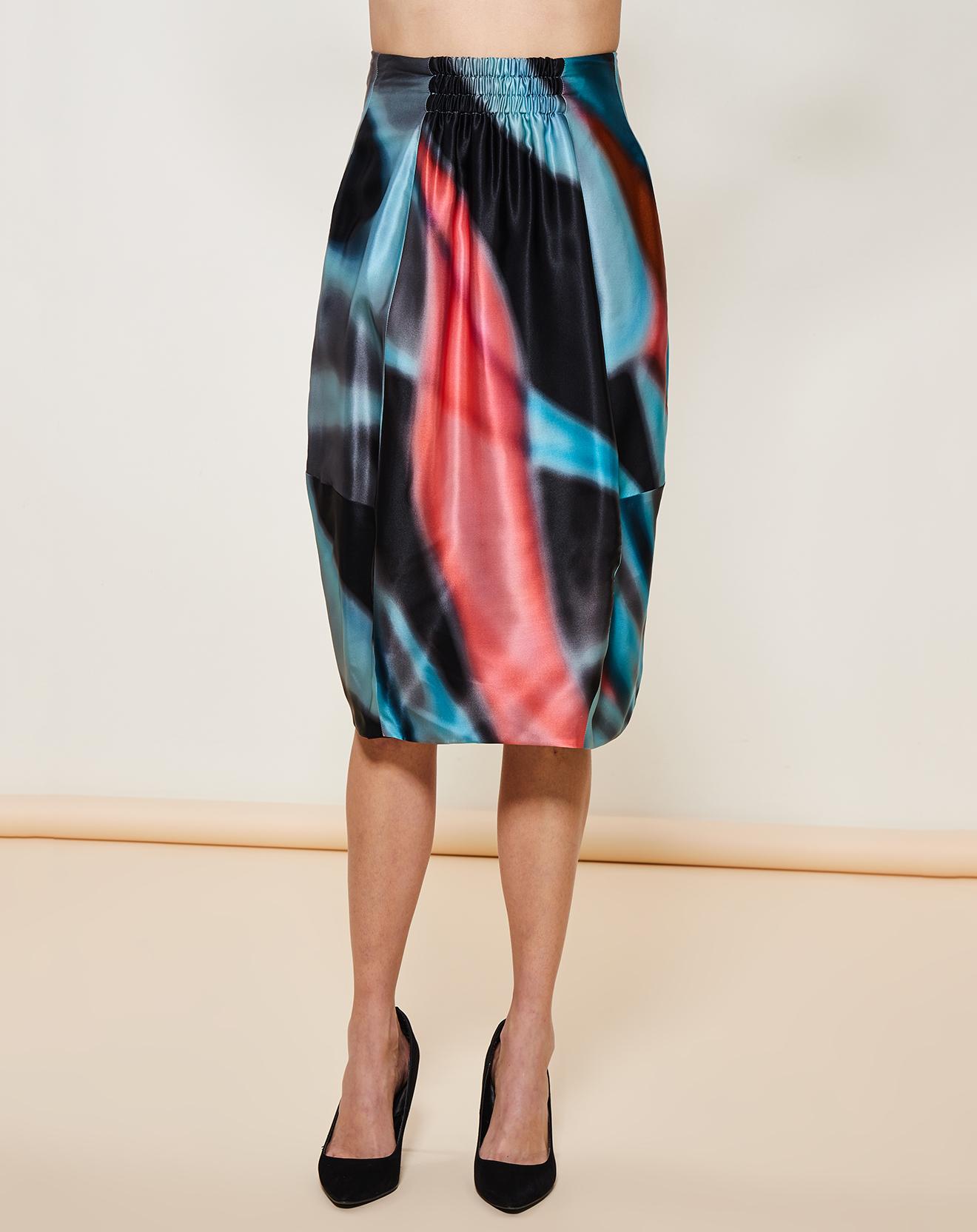 Jupe mi-longue 100% soie imprimée abstrait multicolore - Giorgio Armani - Modalova