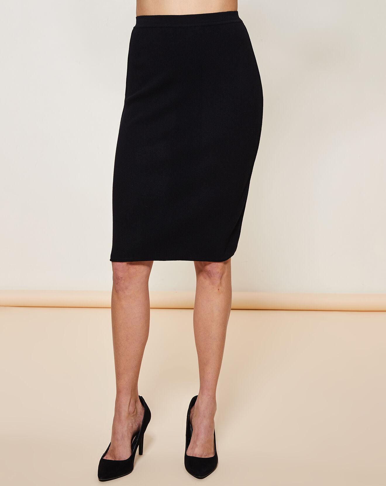 Jupe droite côtelée noire - Giorgio Armani - Modalova