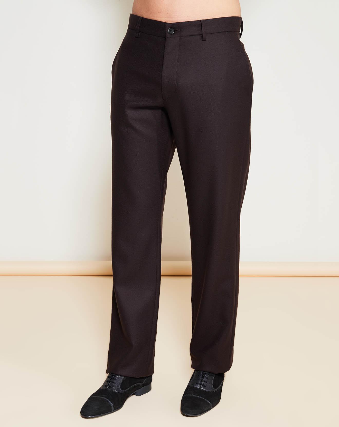 Pantalon coupe évasée en Laine mélangée marron