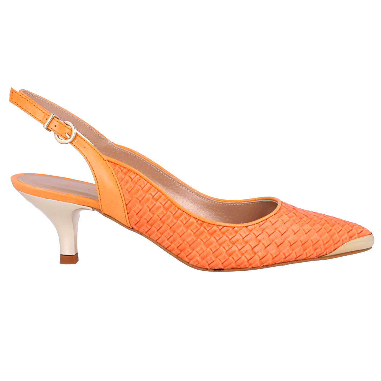 Sling-Back tressés en Cuir orange Talon 5 cm - Roberto Botella - Modalova