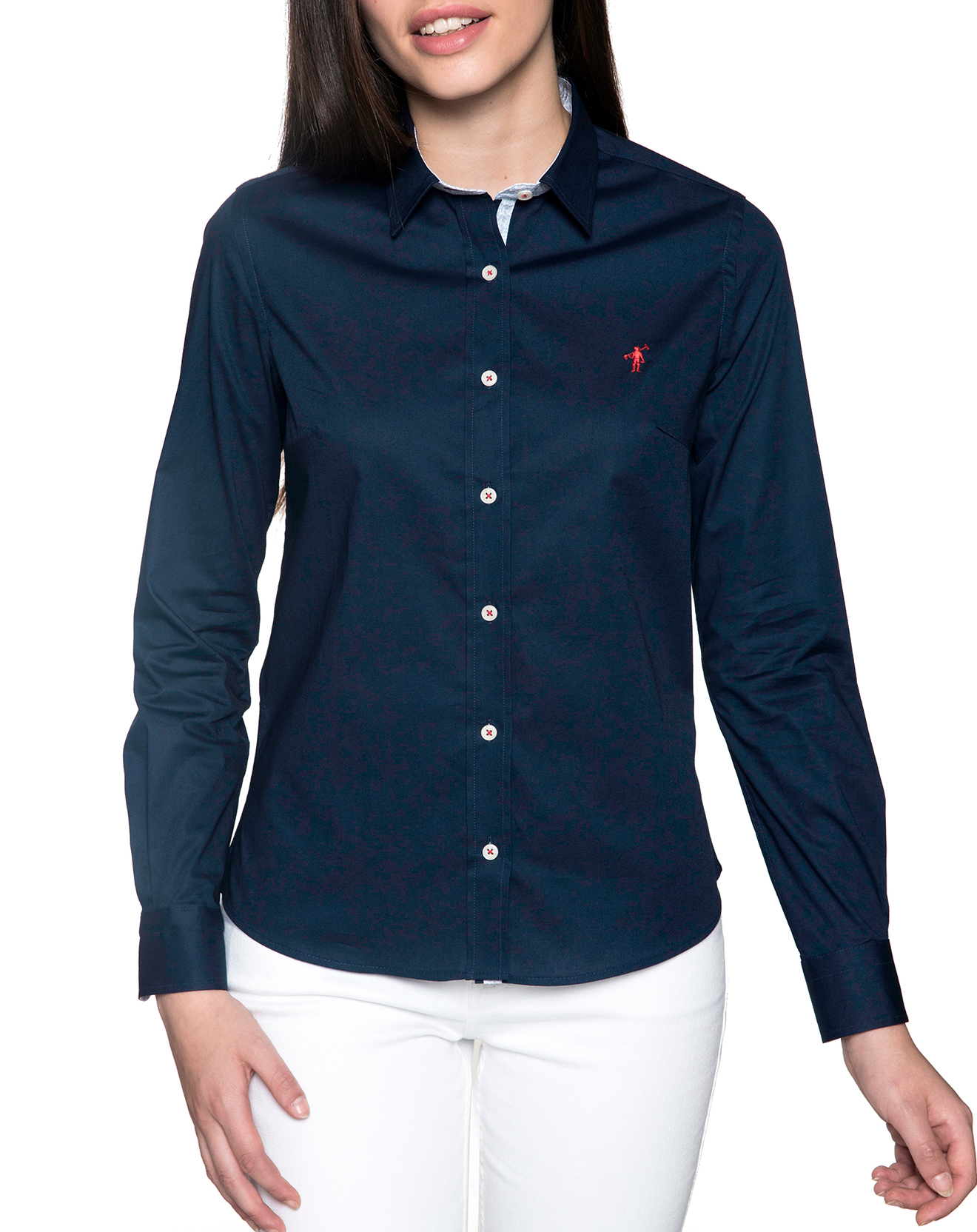 Chemise ajustée avec logo brodé marine