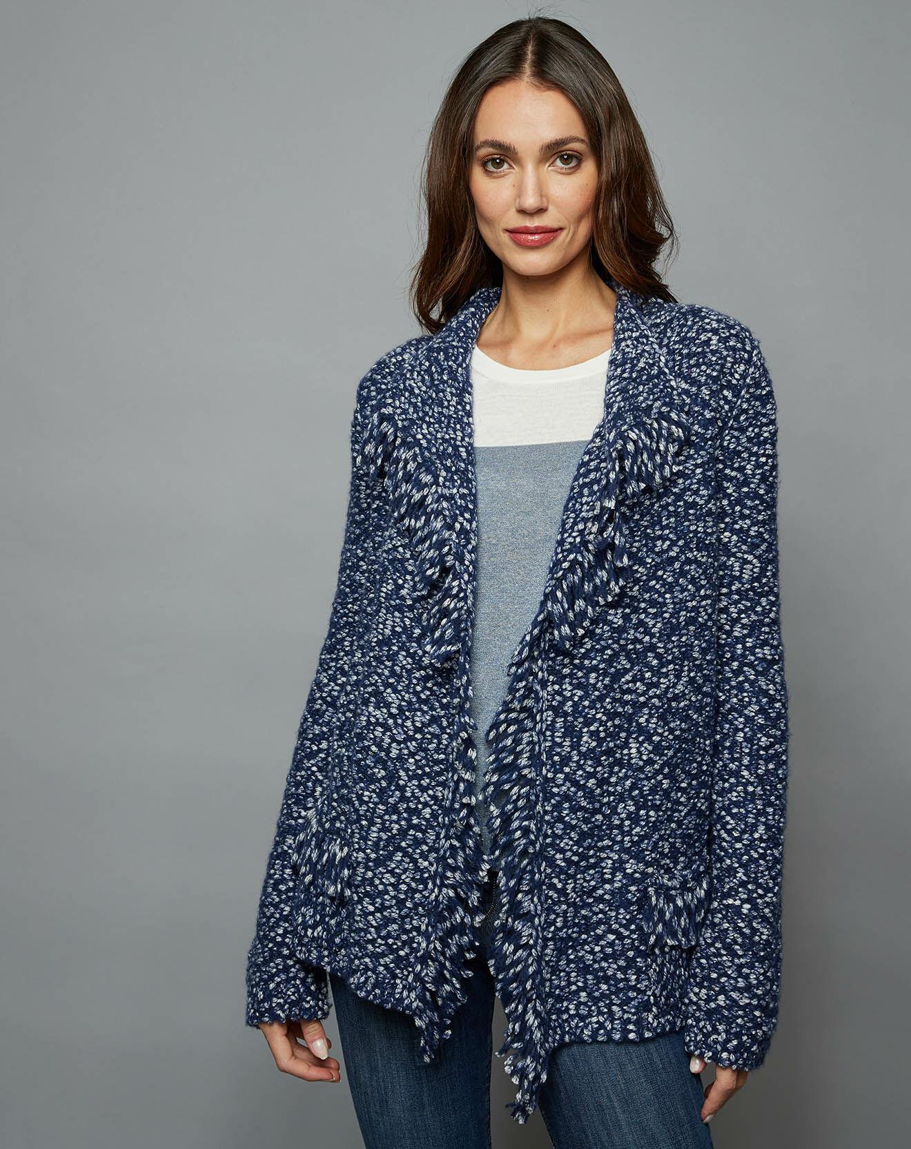 Gilet à franges en Coton & Laine bleu jean