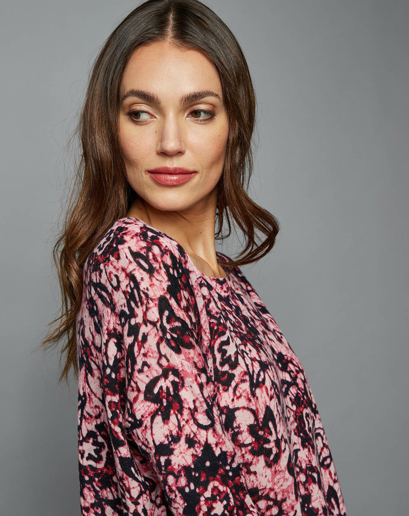 Pull ample  en Laine & Cachemire African Batik rose
