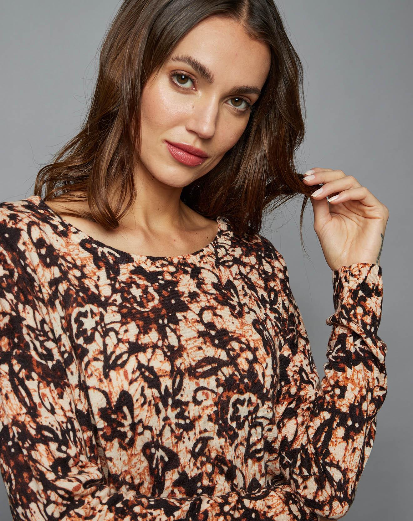 Pull ample  en Laine & Cachemire African Batik marron