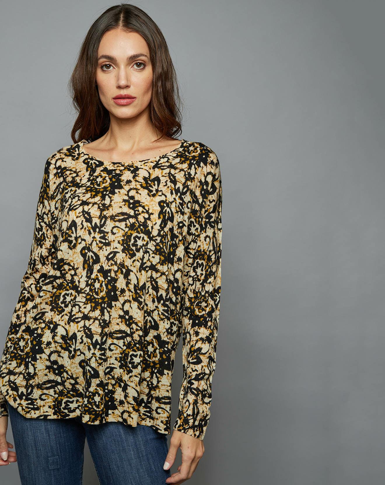 Pull ample en Laine & Cachemire African Batik multicolore