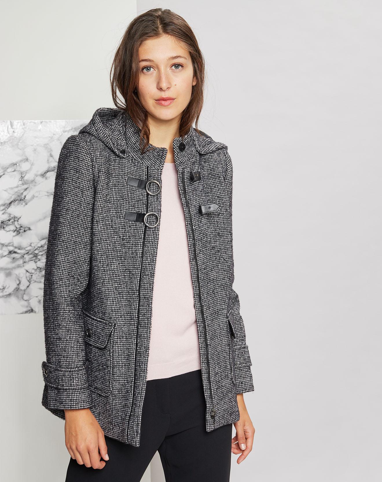 Manteau en Laine mélangée Trevise noir/gris