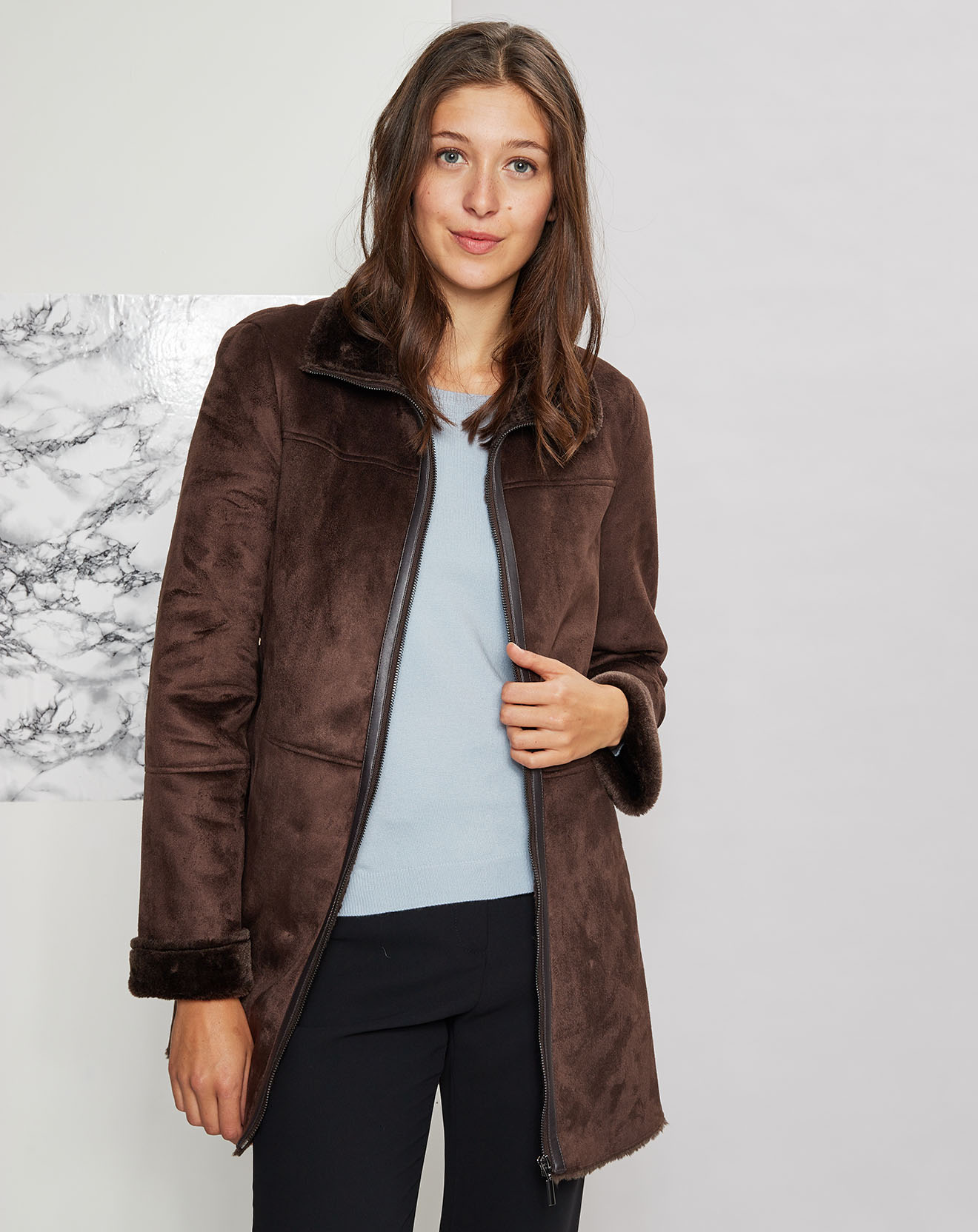 Manteau en Suédine intérieur fourré Toledo chocolat