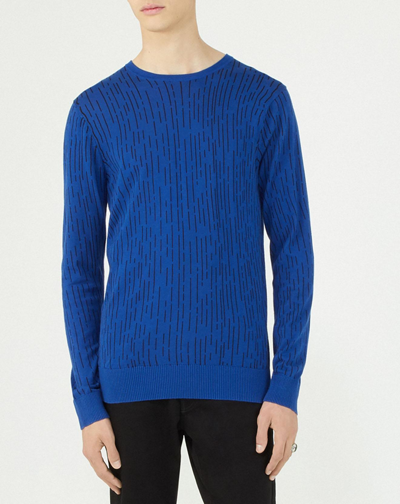 Pull à motifs bleu