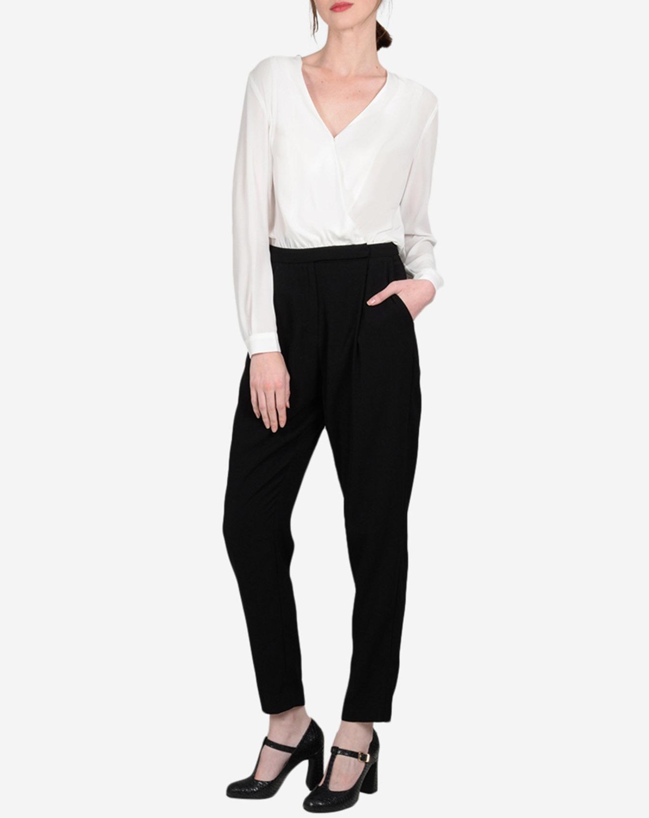 Combinaison type blouse blanc/noir