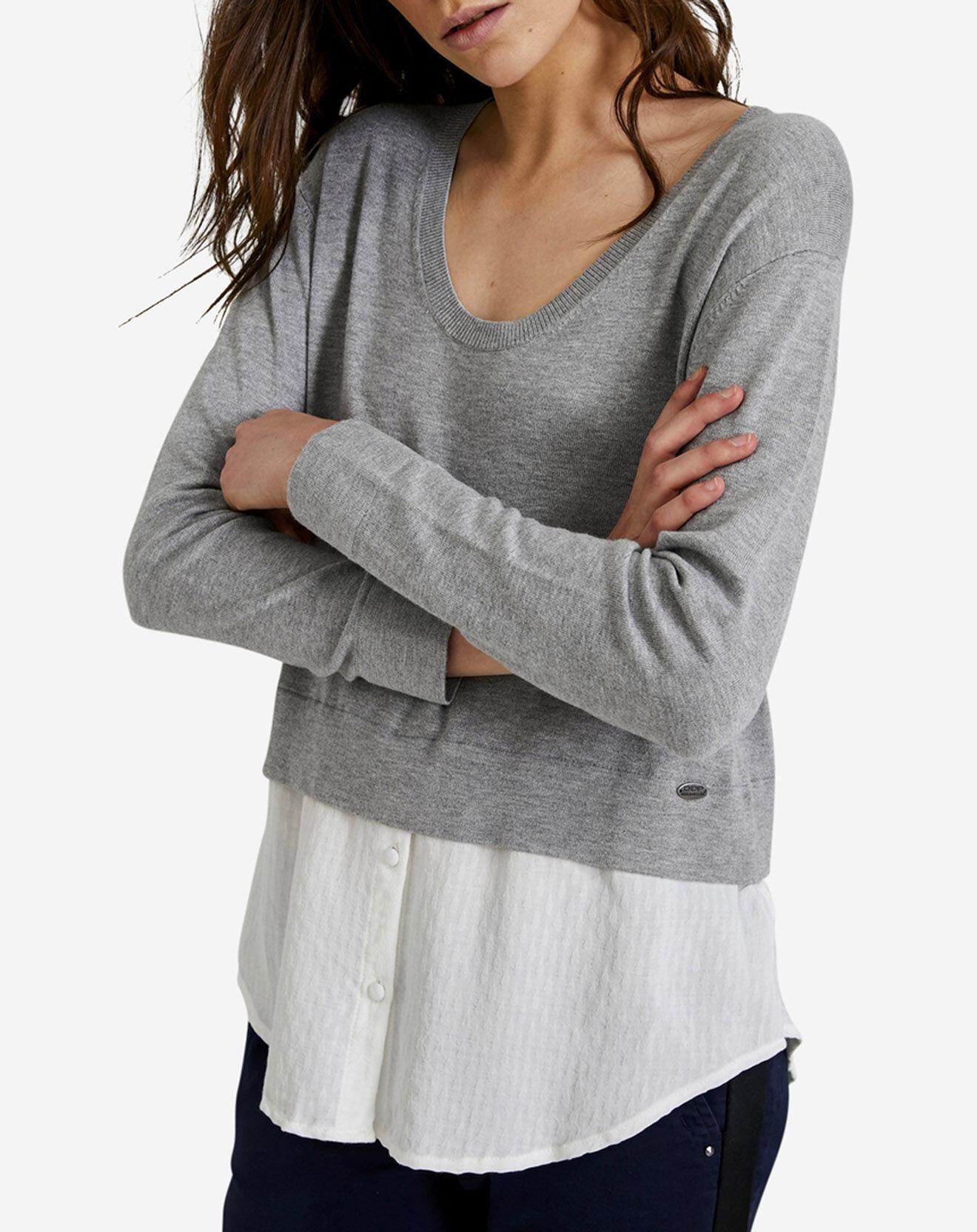 Pull superposé chemise gris/blanc