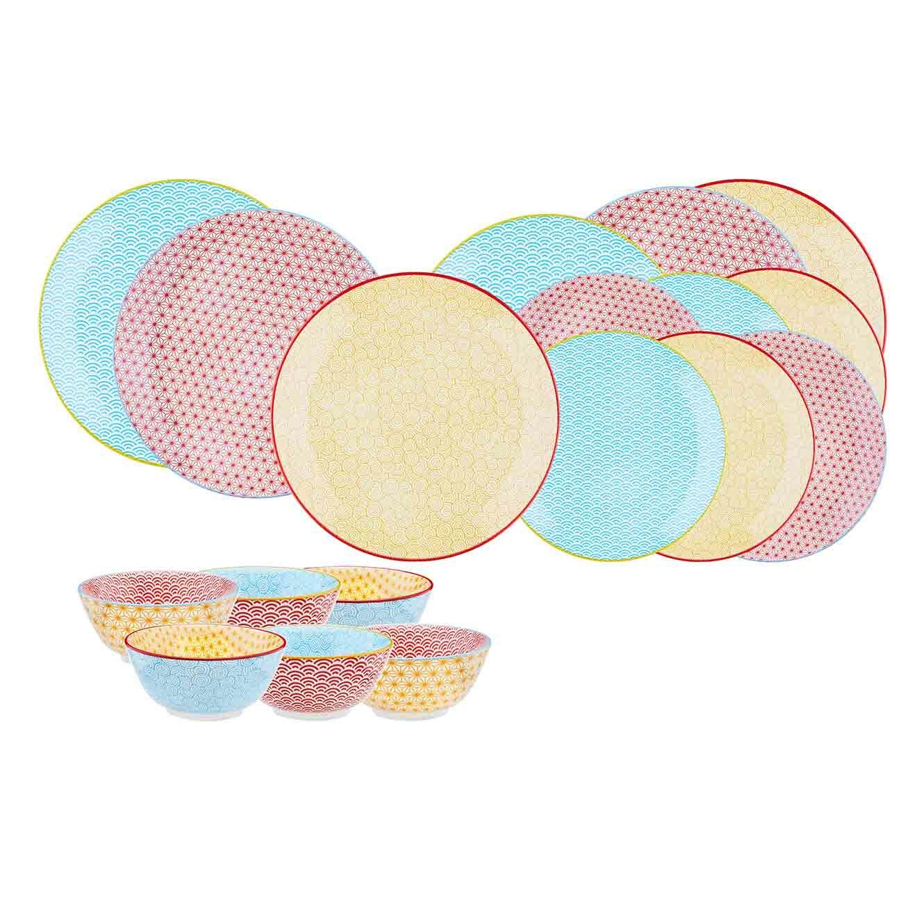 Service Les essentiels Color multicolore - 18 pièces