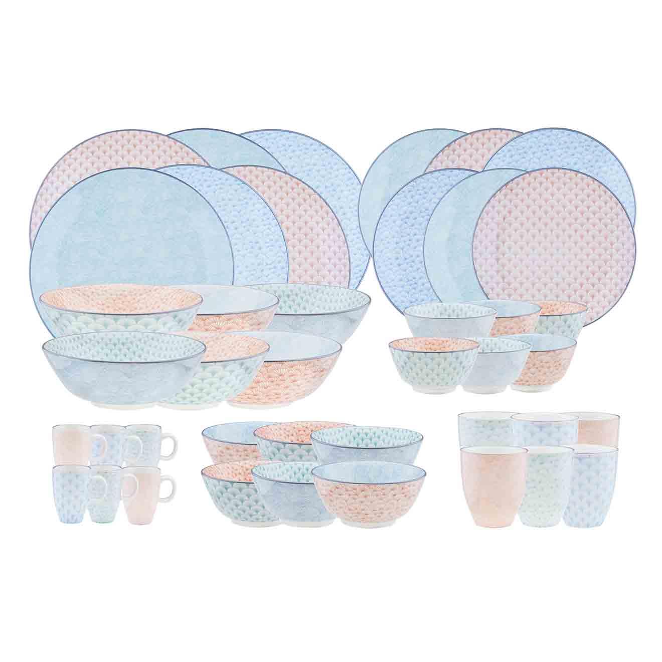 Service Complet Pastel rose pastel/bleu pastel/vert pastel - 42 pièces