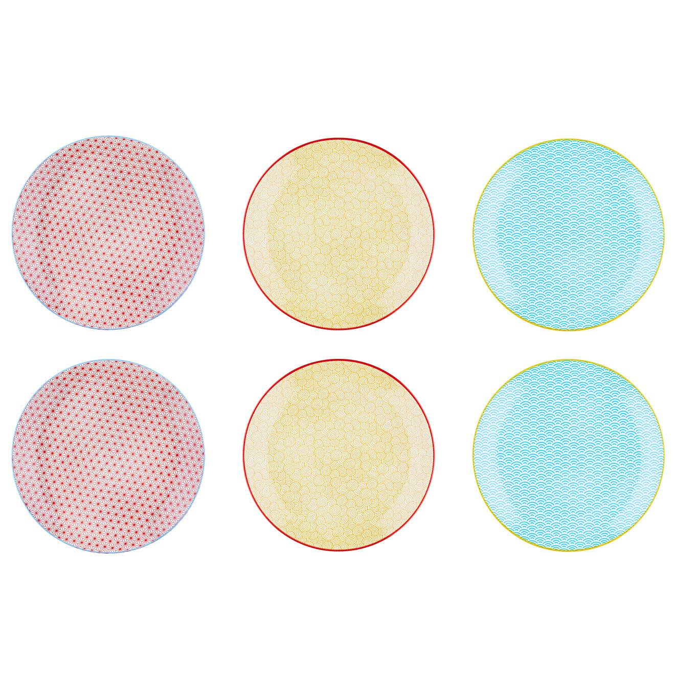 6 Assiettes plates Color multicolores - D.26 cm