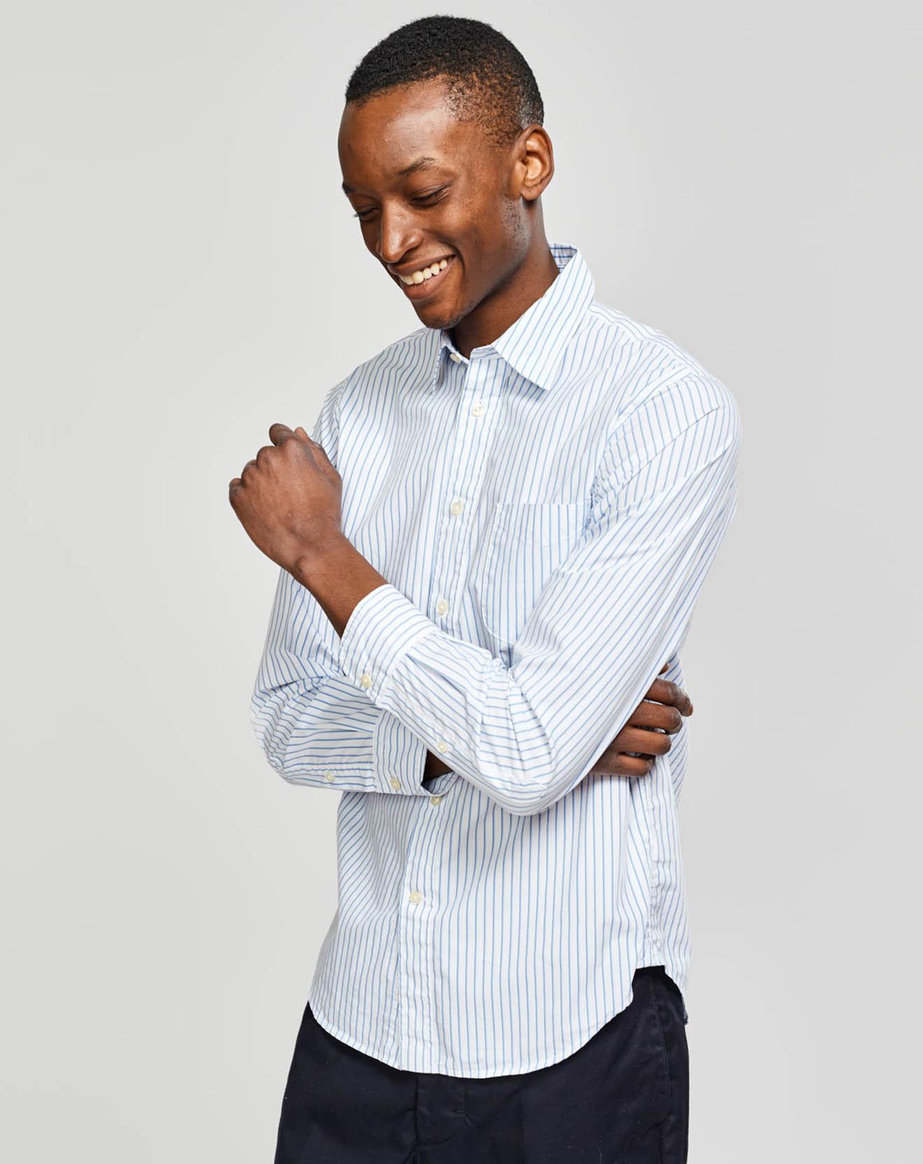 Chemise slim Glenh à fines rayures blanc/bleu