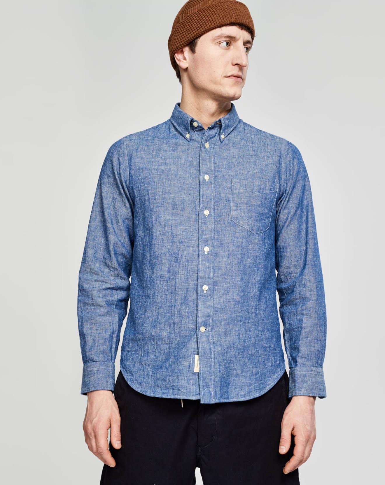 Chemise slim en Lin & Coton Mire bleue