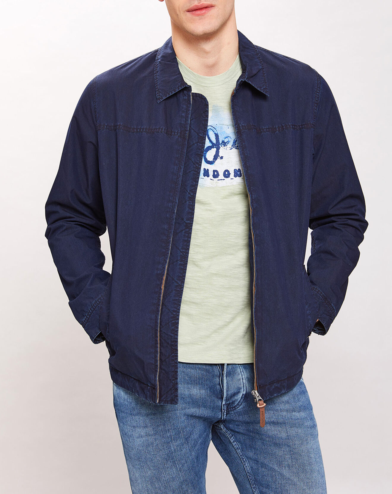 Blouson en Coton col cheminée bleu marine - Pepe Jeans - Modalova