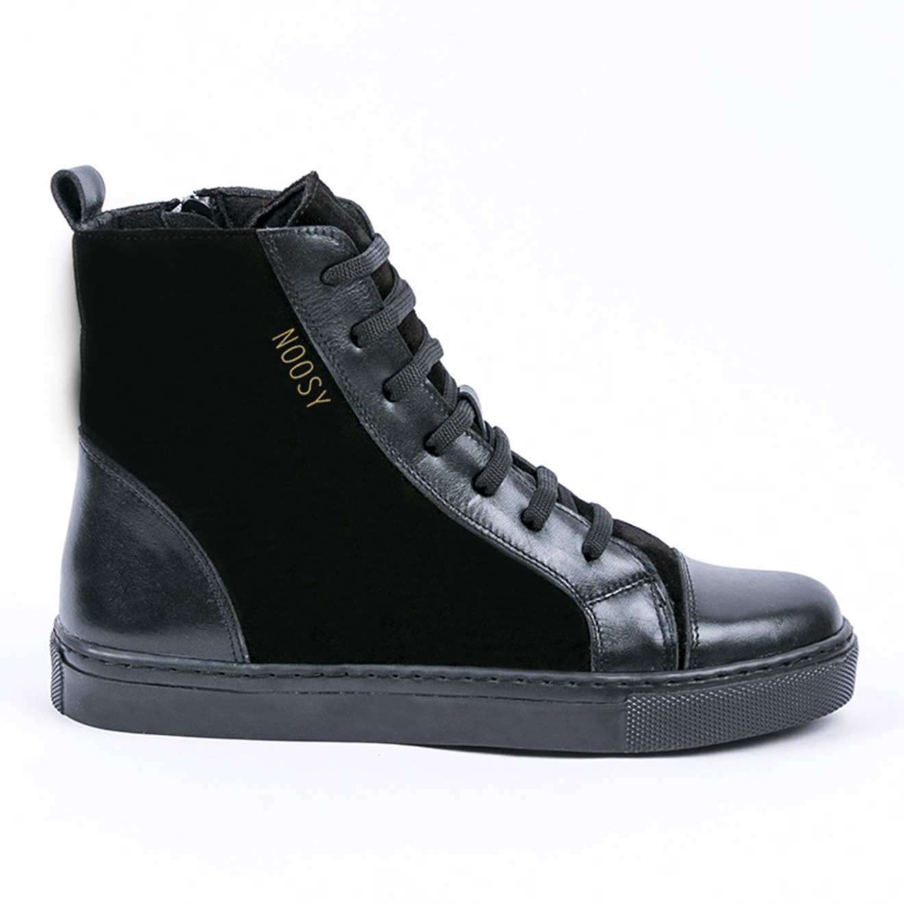 Sneakers montantes en Velours de Cuir Margaux noires