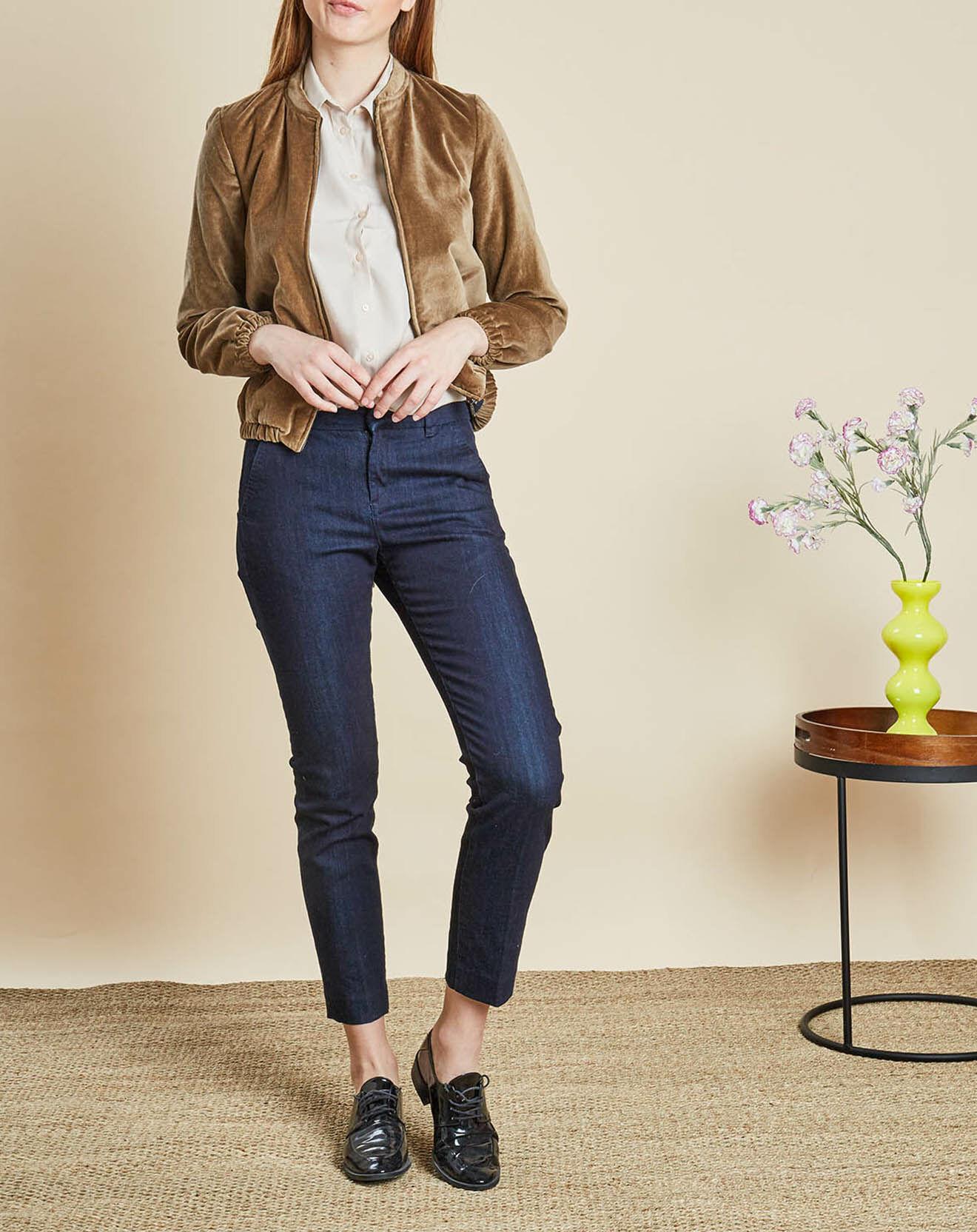 Veste Dorothée en velours de Coton beige foncé - Caroll - Modalova