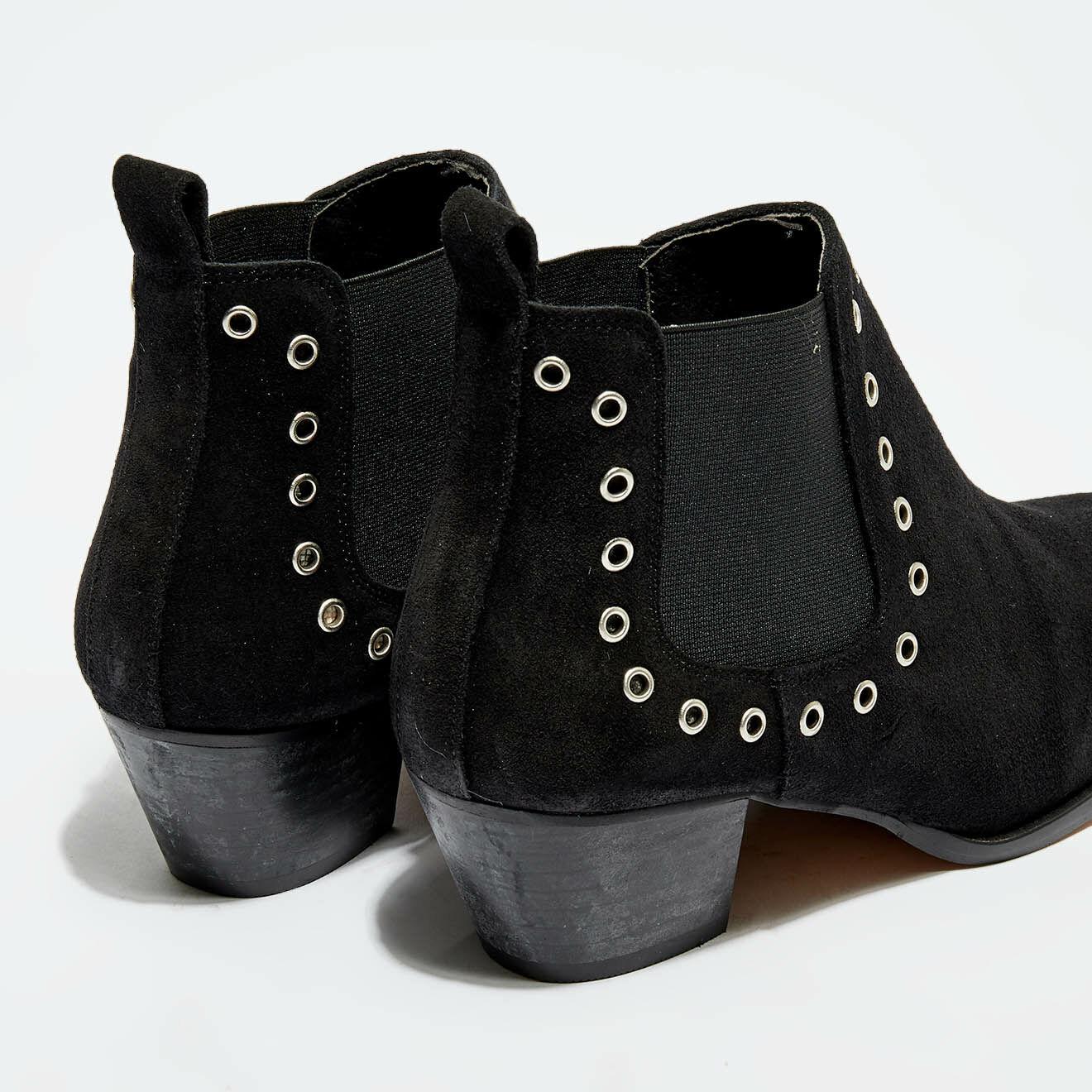 Chelsea Boots en Velours de Cuir Cowboy noires - Talon 5 cm