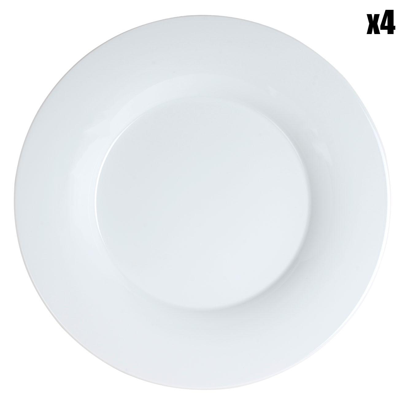 4 Assiettes plates Andy Blanc - 295X295X75 Cm