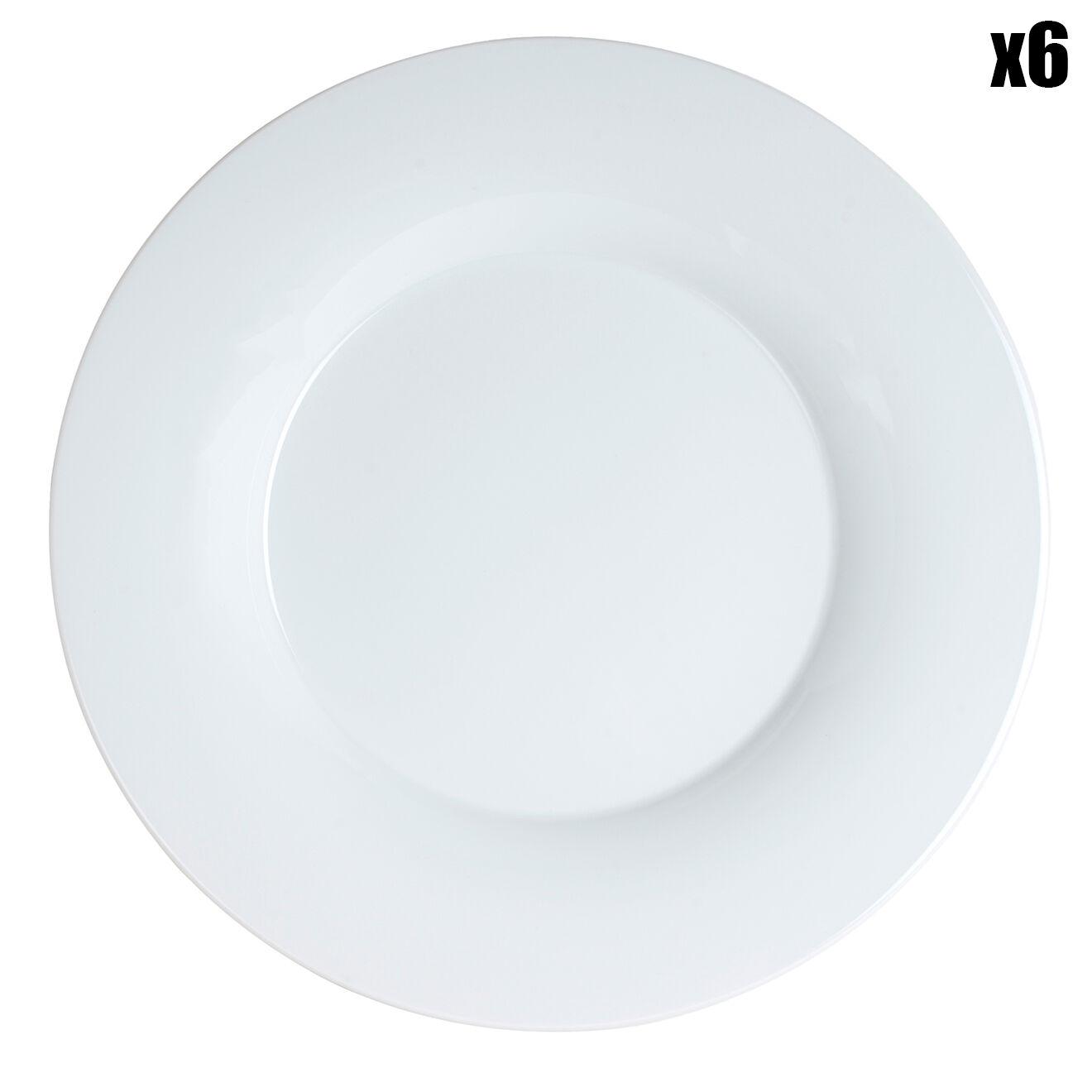 6 Assiettes plates Andy Blanc - 250X250X85 Cm