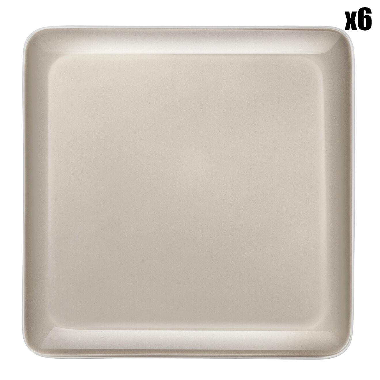 6 Assiettes plates carrées Nomade Taupe