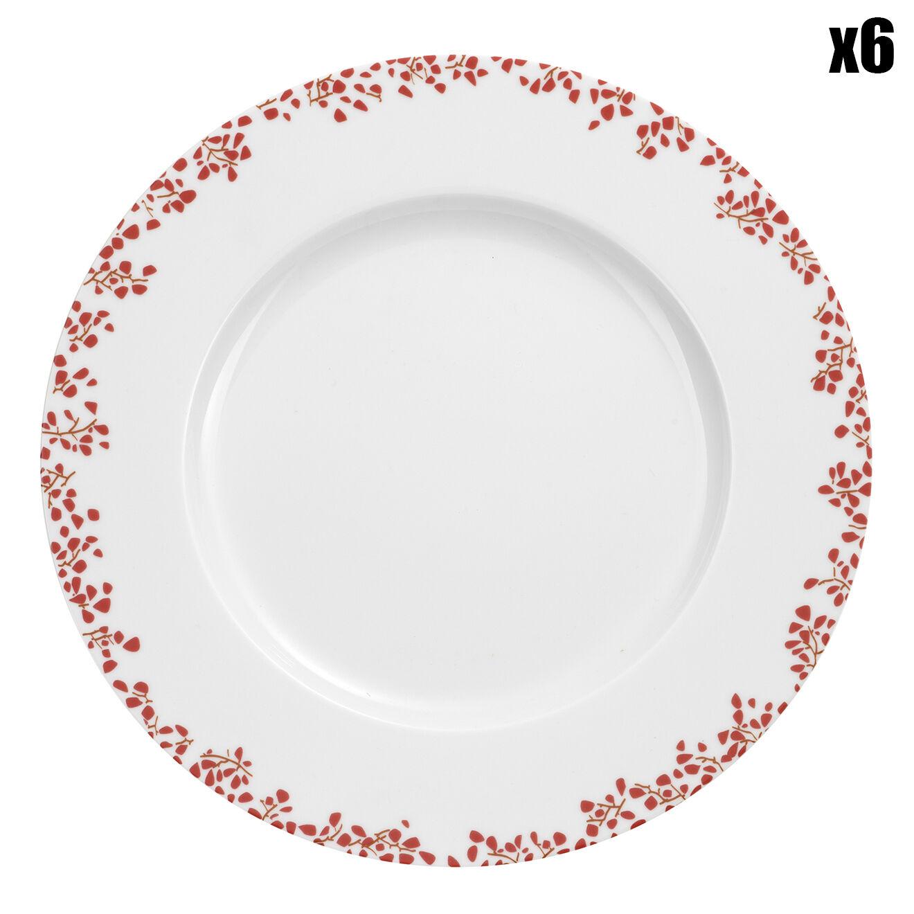 6 Assiettes à dessert Strawberry Blanc / Rouge